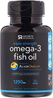 Sports Research Omega-3 Fish Oil, Triple Strength, 1,250 mg, 30 Softgels