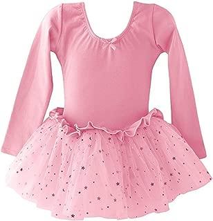 Dancina Girls Skirted Leotard Sparkle Long Sleeve Tutu Ballet Dress Front Lined