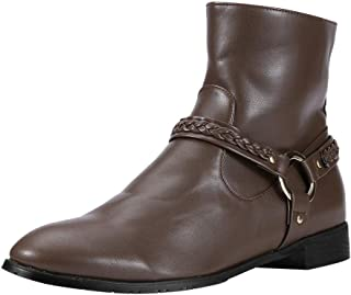 Men Vintage Leather Short Boots, Male Solid Fashion Buckle Side Zipper Mid-calf Boots