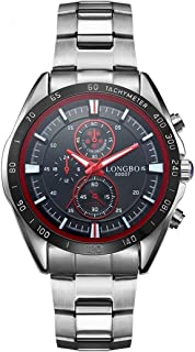 Songlin@yuan 3975 Imported Quartz Movement Fashion Sports Men's Watch with Stainless Steel Strap, Waterproof, Luminous, Three Decorative dials Fashion (Color : Red)
