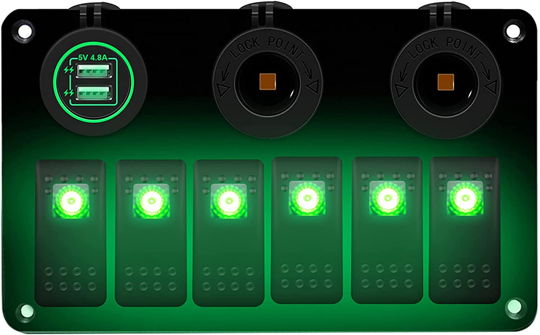 AIHOUSE 6 Gang ON/Off Toggle Rocker Switch Panel, 12V / 24V LED Interruptores Iluminados Dual USB Cargador Y Encendedor De Cigarrillos para Automóvil Marine RV Camión