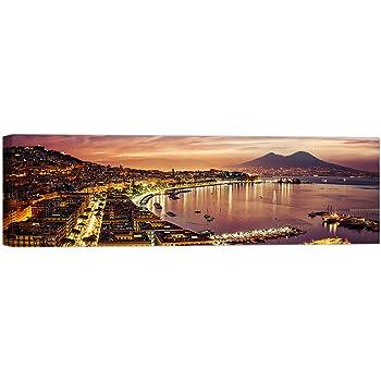 Sinus Art 150x50cm Wandbild in Mauve Fotoleinwand auf Keilrahmen hochwertig Stadt Napoli Sonnenuntergang Neapel