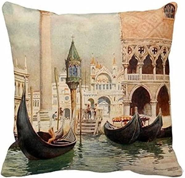棉麻方形装饰抱枕套个性靠垫套漂亮水城复古仿古意大利威尼斯 18x18