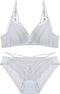 Your only friend Lace Pattern Gathers Thin Sexy Bra Set, Sponge, no Steel Ring, Adjustable Chest Underwear, Four Rows of Two Buckles. (Color : White, Size : 80A=34A=75A)
