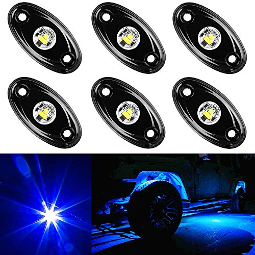 Green Amak 4 Pods LED Rock Light Kit for Jeep ATV SUV Offroad Car Truck Boat Underbody Glow Trail Rig Lamp Underglow LED Neon Lights Waterproof