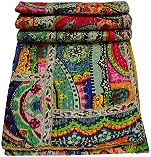 Yuvancrafts Patchwork Cotton Kantha Quilt - Indian Traditional Handmade Bedding Vintage Multi Color Quilt Blanket (Twin (60x90), Multi Patch 1)