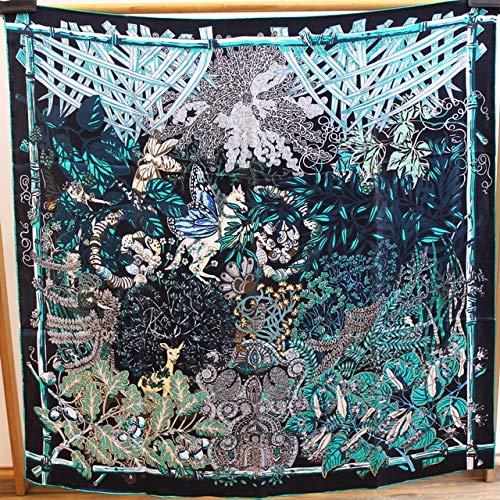K-ONE Bufanda Cuadrada 110Cm Bufanda Grande Mujer Mantón De Seda Morera Estola Poncho Bordes Cosidos A Mano Bufandas