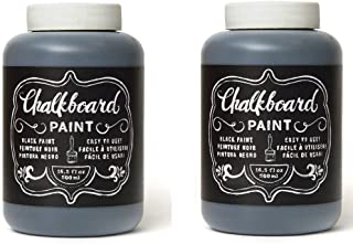 Chalkboard Paint - Black, Erasable Non-Toxic and Oderless Wall Decor 2-Jars (16.5-Ounce ea.) 33 oz Total