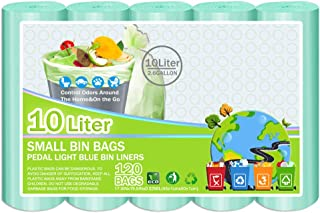 Small Bin Bags,Bin Liners 10l Biodegradable,0.51Mil -120 Bags Recycle Garbage Bag for Bathroom, Kitchen,Home,Living Room,Kitchen,Office,Pet,Fit 8,9,10,11,12 Liter Can,Light Blue