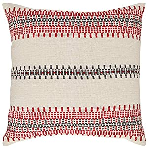 "Imported For this modern throw pillow, multicolored woven strands form beautiful geometric patterns that are fashioned into symmetrical stripes on a white field, creating drama and lending an air of sophistication. 18""L x 18""W Multicolored woven tech..."