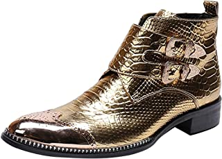 Rui Landed Men's Party Ankle Boot Casual Retro Snakeskin Texure Metal Pointed Toe High-top Convenient Zipper Formal Shoes