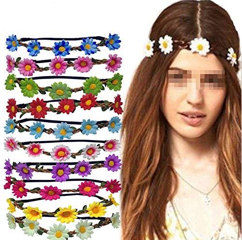 Ewanda store 10 Pcs Bohemian Boho Daisy Flower Floral Crown Headband Wedding Summer Christmas Party Garland Halo Hair Band for Women Lady Girls