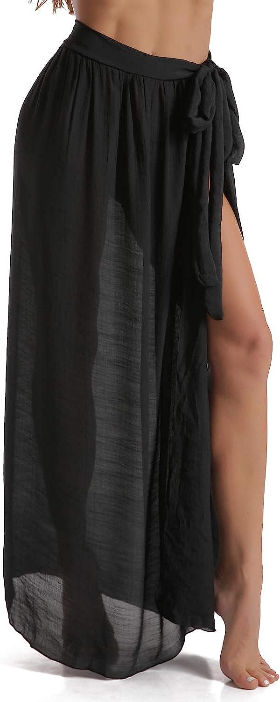 Eicolorte Beach Sarong Pareo Womens Semi-Sheer Swimwear Cover Ups Short Skirt with Tassels