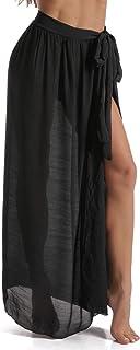 Beach Sarong Pareo Womens Semi-Sheer Swimwear Cover Ups Short Skirt with Tassels