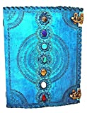 Leather Journal Book Seven Chakra Medieval Stone Embossed Handmade Book of Shadows Notebook Office Diary College Book Poetry Book Sketch Book 10 x 13 Inches (turquoise)