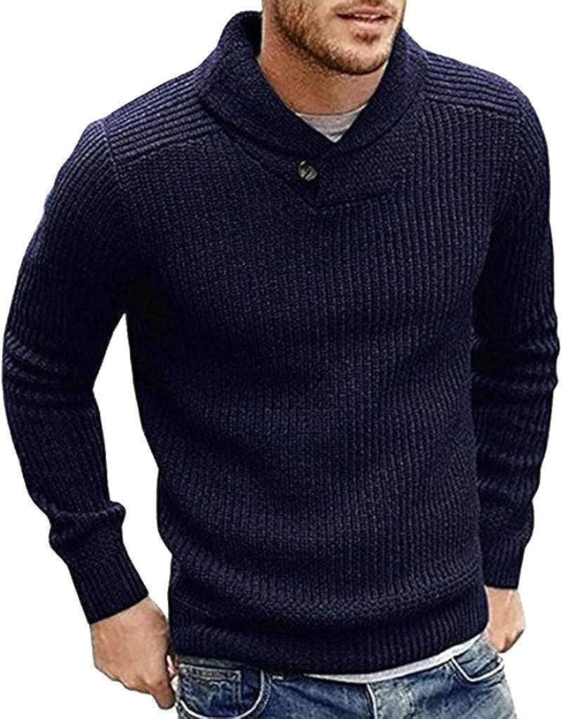 MODOQO Men's Pullover Sweaters Long Sleeve Lapel Warm Soft Slim Fit Knitwear for Autumn Winter