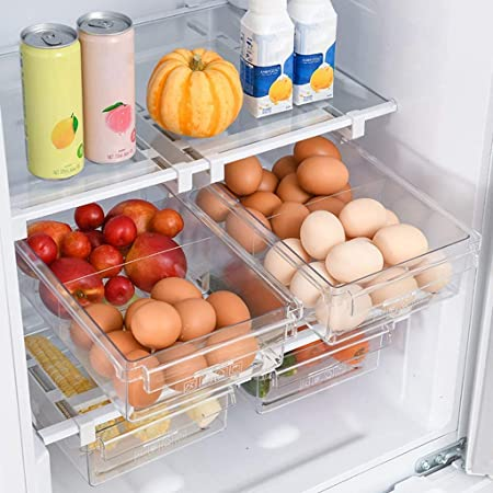 HapiLeap Refrigerator Organizer Drawer for Eggs, Pull Out Fridge Drawer Organizers Fridge Shelf Holder Storage Box (Fridge Small Drawer)