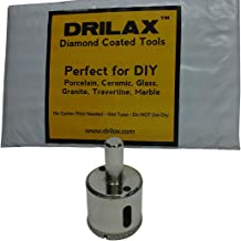 Drilax 1 1/4 Inch Diamond Hole Saw Drill Bit Tiles, Glass, Fish Tanks, Marble, Granite Countertop, Ceramic, Porcelain, Coated Core Bits Holesaw DIY Kitchen, Bathroom, Shower, Faucet Installation Size 1 1/4