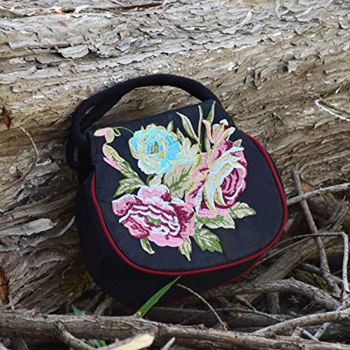 N\C Bolso de lona para la compra para mujer, estilo bohemio, étnico, bordado retro, flores
