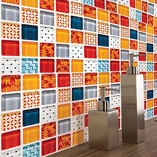 FGFDHJ Creativo patrón de mosaico pegatinas azulejos cocina baño piso decoración mural arte calcomanías papel pintado decoración del hogar