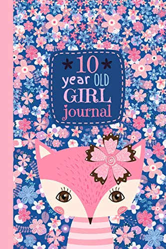 10 Year Old Girl Journal: Cute Happy Birthday Notebook Wide Ruled and Blank Framed Sketchbook, Pink Fox Diary for Ten Year Old Kids to Keep Memories, Draw, Write and Sketch