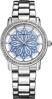 ساعات CRRJU نسائية فاخرة من الماس المقاوم للصدأ مقاومة للماء هيكل عظمي لباس الأعمال ساعة يد للسيدات هدية + صندوق