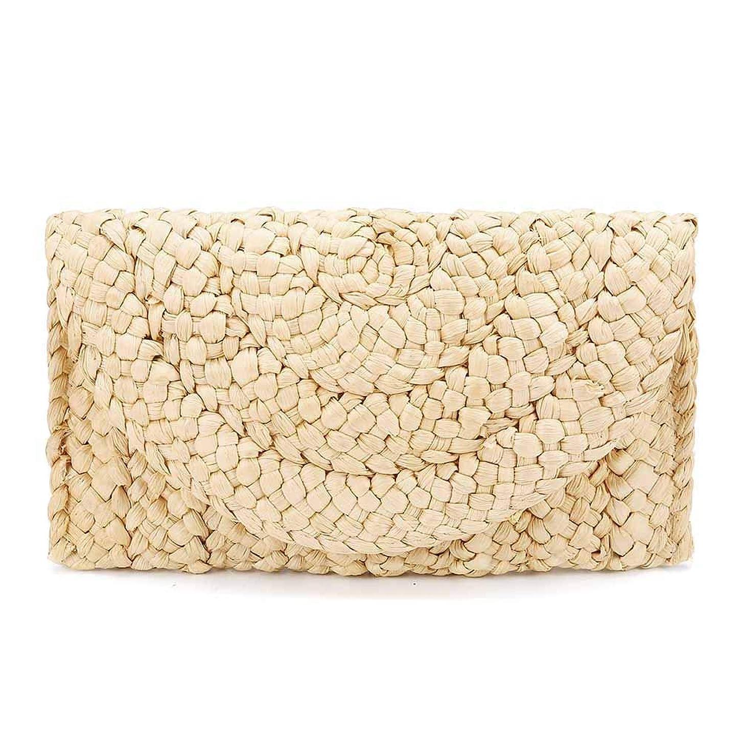 調べる磨かれた暖かくGrokebo 封筒バッグ ラッチバッグ ストロークラッチ 軽量 かごバッグ 編みバッグ 卒園式 パーティーバッグ 旅行 夏向け