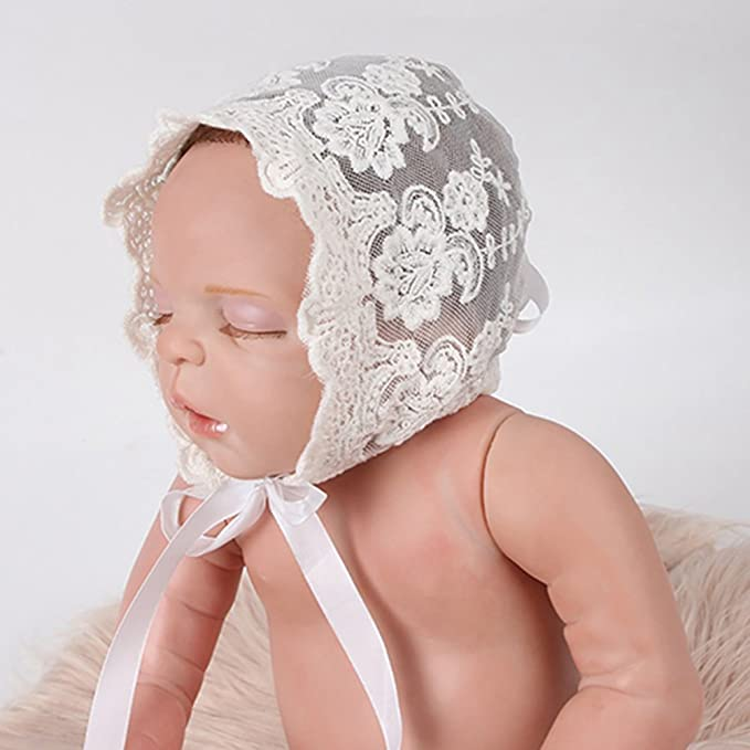 5947 Infant Newborn Girls Kids Lace Floral Hat Beanie Bonnet Hats Photo Prop