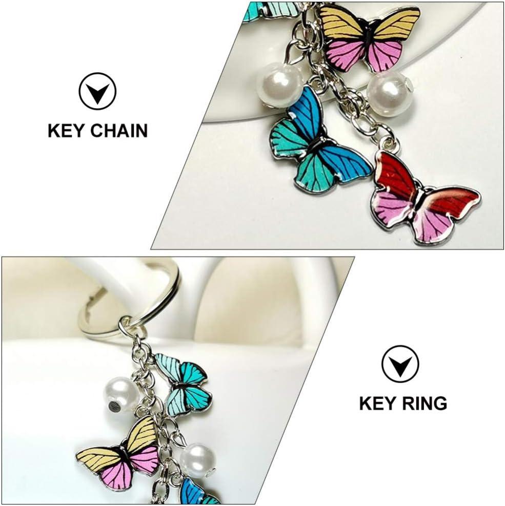 BESPORTBLE 2pcs Butterfly Key Chains Alloy Enamel Butterfly Pearl Keyring Clip Hook Key Charms Pendants for Handbag Purse Car Key Phone Backpack Decor