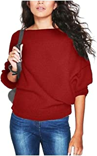 Howely Womens Knit Batwing Sleeves Pure Color Pullover Jumper Sweaters