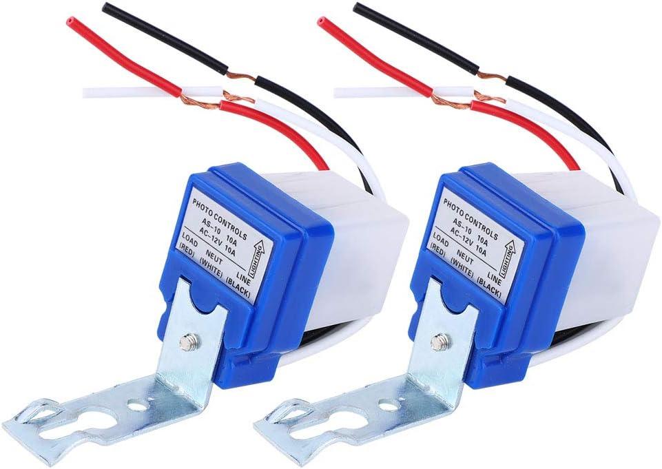2 Interruptores de Control de la Luz Sensor Automático Exterior Control de la Luz Sensor con Fotocélula, Interruptor de Luz, Sensor Fotoswitch de Sensor(AS-10A-12V AC12V)