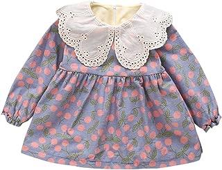 QinMM 0-24 Mes Vestido de Princesa de Floral Manga Larga Vestido de ni/ña beb/é Grueso Abrigo de oto/ño Invierno