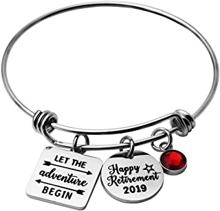 Happy Retirement 2019 Charm Bracelet Retirement Bangle Gift for Women Congratulations Gifts from Coworker