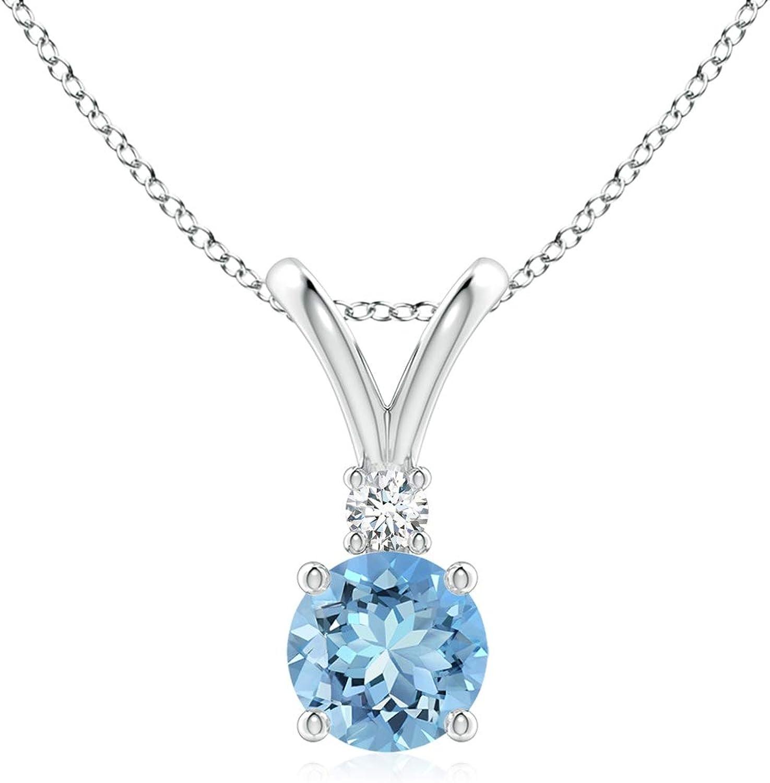 Round Aquamarine Solitaire V-Bale Pendant Diamond Department store Aqua with Max 76% OFF 5mm