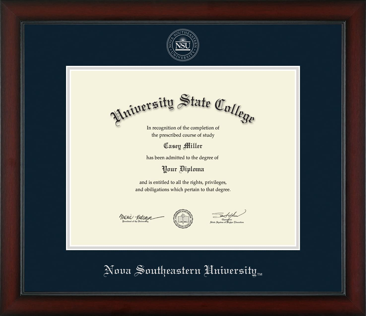 Elegant Nova National products Southeastern University - Silver Embo Officially Licensed
