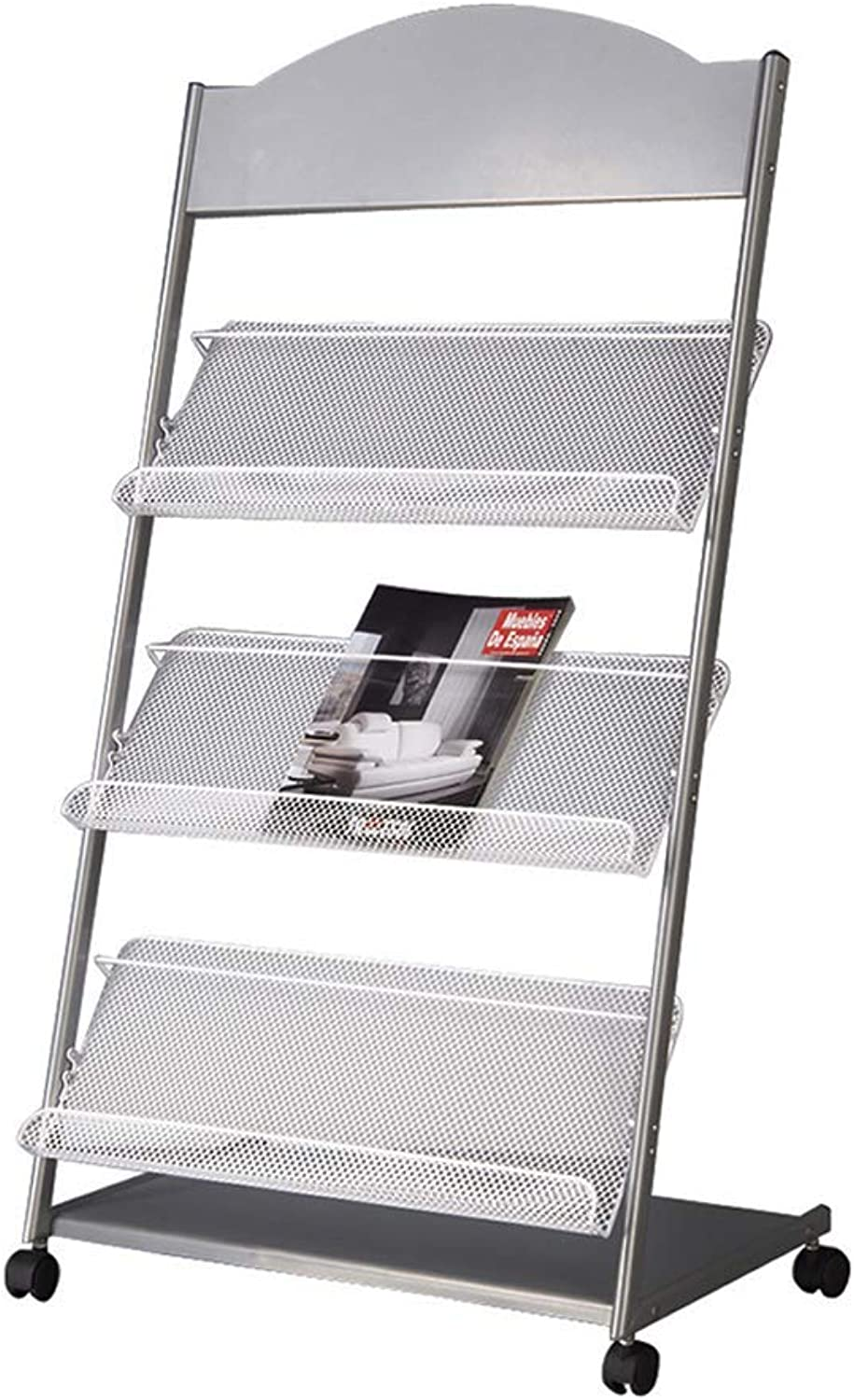 Magazine Rack with Pulleys Can Be Moved Floor Newspaper Display Rack Office Brochure Rack Multi-Layer Supermarket Door Shelf Black