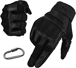 ILM Tactical Gloves Men Touchscreen - Military Mechanic Hunting Shooting Combat Airsoft Heavy Duty Knuckle Gloves Motorcycle Cycling ATV MTV (L, Black)