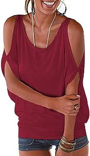 Miselon Women Cold Shoulder O-Neck Short Sleeve Sexy Loose Fit Summer Shirt Blouse Tops