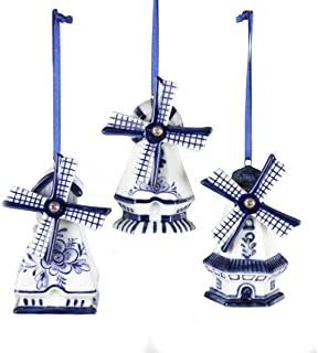 Kurt Adler Porcelain Delft Blue Windmill Ornament Set Of 3