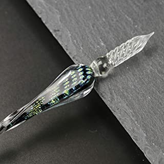 YOLAKI Glass Dip Pen, Handmade Glass Signature Pen Artist Ink Pen Vintage Dip Ink Pen Crystal Writing Gift Pen (Black)