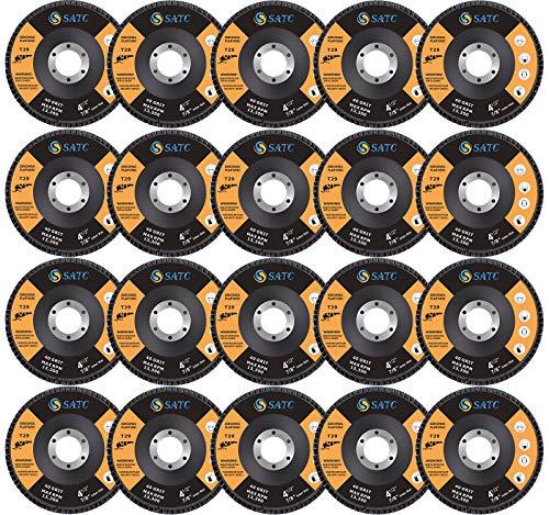 S SATC 20 Pack Flap Discs 40/60/80/120 Grit Grinding Wheel 4.5' x 7/8' High...