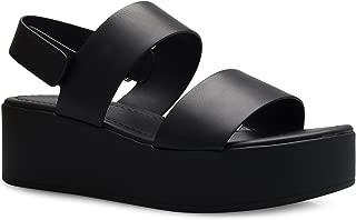 OLIVIA K Women's Platform Buckle Sandal - Open Peep Toe Fashion Chunky Ankle Strap Shoe