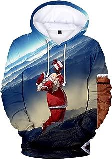 Mens Santa Claus Hoodie Pullover Sweatshirt Long Sleeve Hooded Outwear Tops
