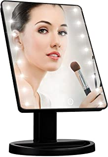Led Makeup Vanity Mirror with 16 lights, Smart Touch Screen, 180°Adjustable Rotation, Dual Power Supply, Magnifying Deskto...