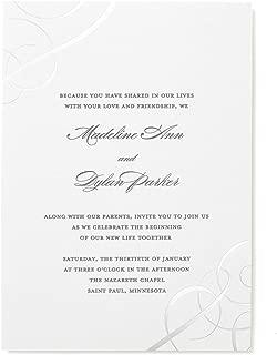 Silver Foil Swirls Print at Home Wedding Invitation Kit