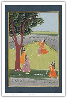 Gujarat, India - Lord Krishna's Consorts on Swings - Vintage Indian Miniature Painting c.1800's - Master Art Print 12in x 18in