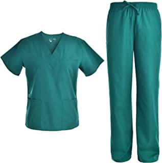 Pandamed Scrubs Medical Uniform Women and Man Scrubs Set Top and Pants Workwear Unisex V-neck TOP JY1601 (S, HUNTER)