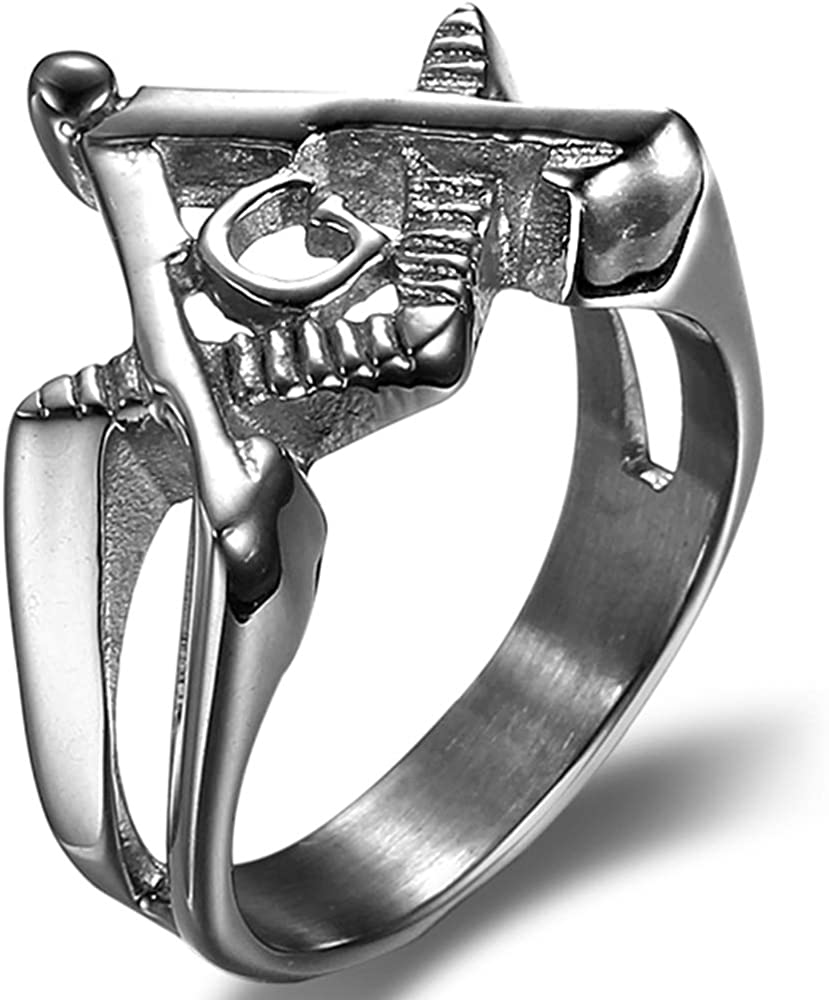 Jude Jewelers Stainless Steel Masonic Emblem Freemasonry Knight Tempar Biker Party Ring