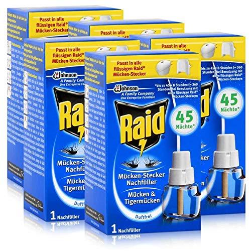 5x Raid Mücken Stecker Nachfüller für ca. 45 Nächte Mückenfrei