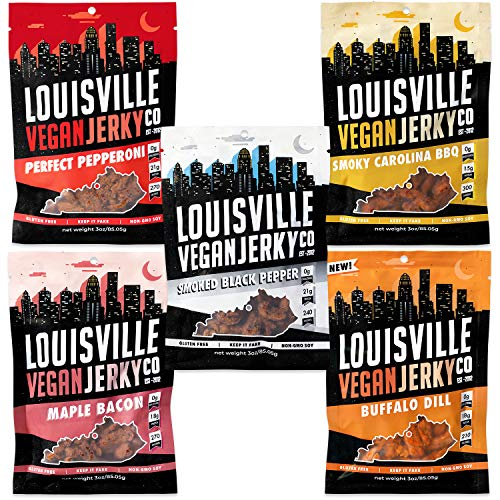 Louisville Vegan Jerky - Variety Pack, Vegan Jerky, 15-21 Grams of Protein, Gluten-Free Ingredients, Includes Black Pepper, Perfect Pepperoni, Maple Bacon, Carolina BBQ, & Buffalo Dill (3 oz, 5-Pack)